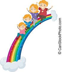 regenbogen, rutsche, schieben, familie