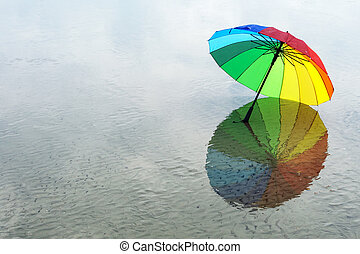 regenbogen, schirm, gefärbt