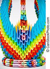 regenbogen, schwan, origami