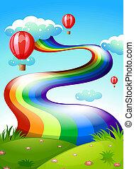 regenbogen, schwimmend, himmelsgewölbe, luftballone