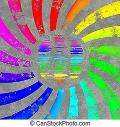 regenbogen, sonne, erdball, -, wirbel, logo, oder