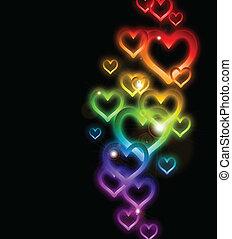 regenbogen, sparkles., vektor, umrandungen, herz