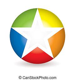 regenbogen, stern, ikone