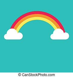regenbogen-symbol, vektor, wolkenhimmel