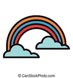 regenbogen-symbol, wolkenhimmel