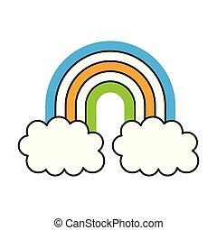 regenbogen-symbol, wolkenhimmel, himmelsgewölbe