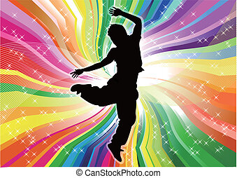 regenbogen, tänzer, silhouette, backg