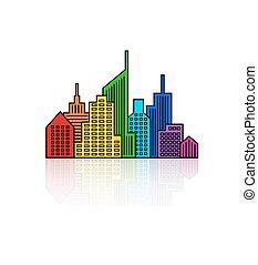 regenbogen, vektor, cityscape, design