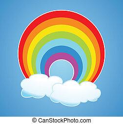 regenbogen, vektor, wolkenhimmel