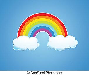 regenbogen, vektor, wolkenhimmel, himmelsgewölbe
