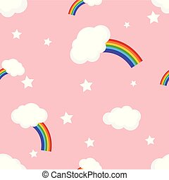 regenbogen, vektor, wolkenhimmel, seamless, muster