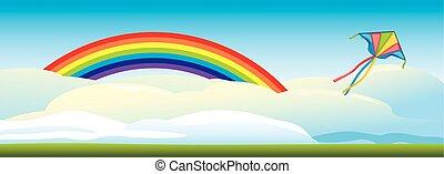 regenbogen, wolkenhimmel, drachen- fliegen, gegen, hintergrund
