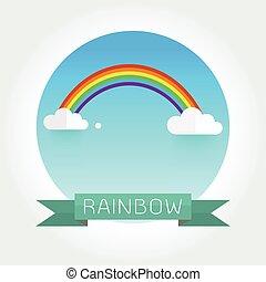 regenbogen, wolkenhimmel, himmelsgewölbe