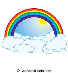regenbogen, wolkenhimmel, sonne