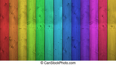 regenbogenfarben, auf, hölzern, hintergrund