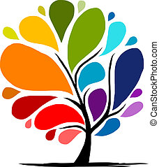 regenboog, abstract, boompje, jouw, ontwerp