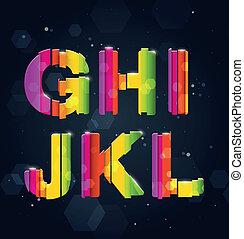 regenboog, abstract, lettertype, g-l