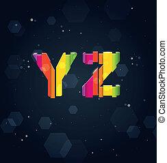regenboog, abstract, lettertype, y-z