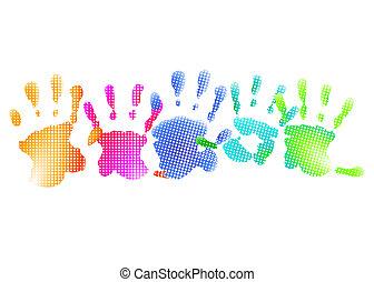 regenboog, afdrukken, hand