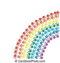 regenboog, afdrukken, kinderen, handen