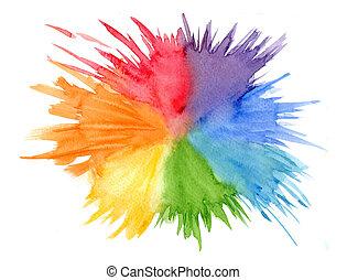 regenboog, afgerond, helder, watercolor, kleuren, vlek