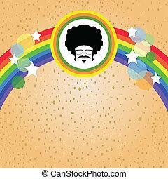 regenboog, afro, man
