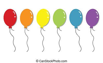 regenboog, ballons