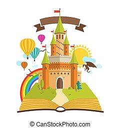 regenboog, baloons, bomen, boek, wolken, illustratie, draak, vector, groene, verhaal, zon, elfje, castle.