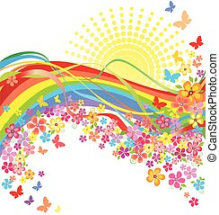 regenboog, bloemen
