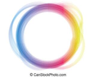 regenboog, cirkel, grens, borstel, effect.