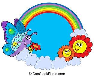 regenboog, cirkel, met, vlinder, en, bloemen
