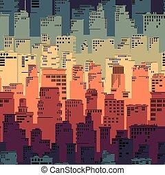 regenboog, city., groot, abstract, seamless, achtergrond
