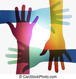 regenboog, doorzichtigheid, handen, eps10