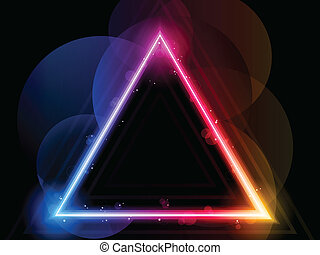 regenboog, driehoek, grens, met, vonkeelt, en, swirls