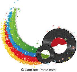 regenboog, en, vinyl legt vast