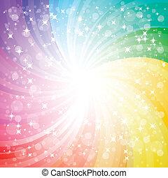 regenboog, eps10, achtergrond, vonken, abstract, illustratie, vector, glans