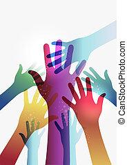 regenboog, eps10, doorzichtigheid, handen