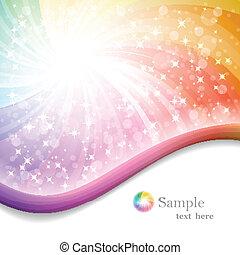 regenboog, eps10, illustratie, vector, achtergrond, linten