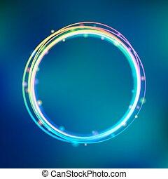 regenboog, frame, cirkel, gloeiend, vonkeelt