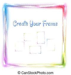 regenboog, frame, vector, witte achtergrond