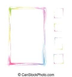 regenboog, frame, vrijstaand, vector, achtergrond, witte
