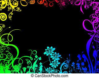 regenboog, gebladerte