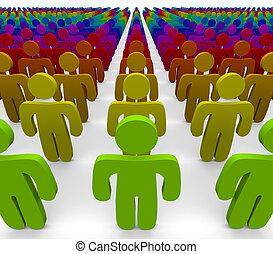 regenboog, groep, mensen, -, kleuren, anders