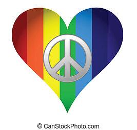 regenboog, haard, met, vrede teken