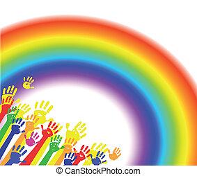 regenboog, handen kleur, palmen
