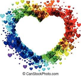 regenboog, heart., achtergrond, valentine