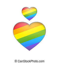 regenboog, heart.