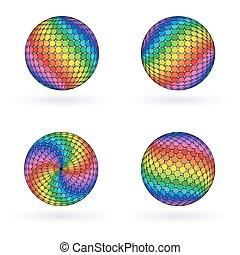 regenboog, helder, kleurrijke, ball., bol