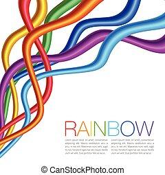 regenboog, helder, waren, verdraaid, vibrant