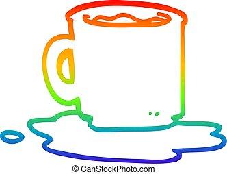 regenboog, helling, thee, tekening, mok, lijn, spotprent,...